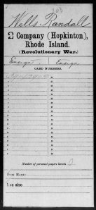 Muster Roll of Randall Wells of Hopkinton, RI