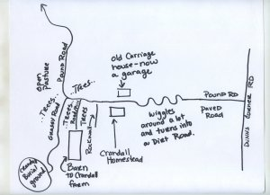 Map to the Crandall Burial Ground in Westerly, RI