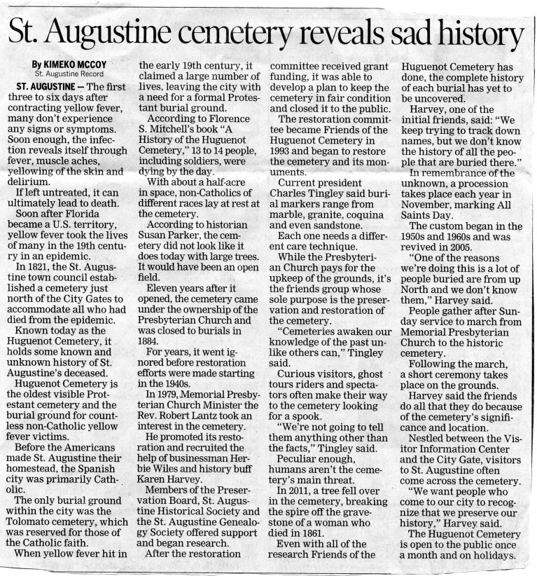 St Aug Cemetery Article