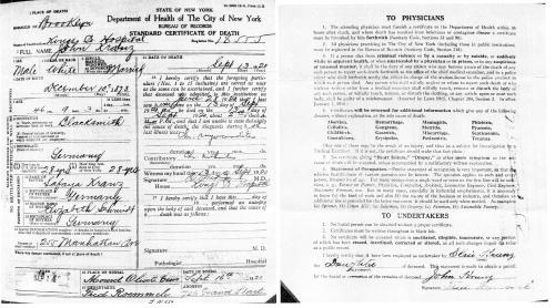 Death Certificate of John Kranz